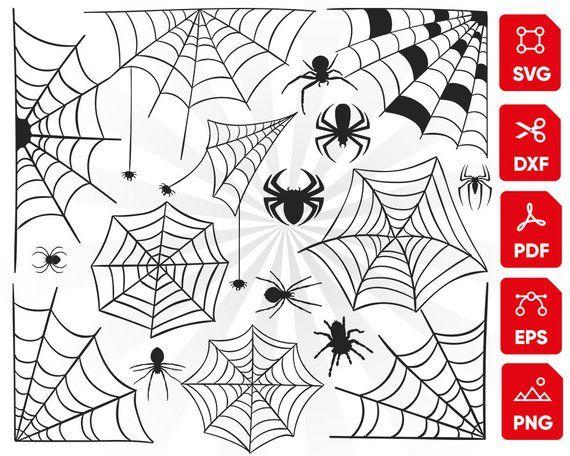 Spider Web Svg Bundle Spider Svg Spider Clipart Silhouette Etsy Spider Clipart Clip Art Spider Web