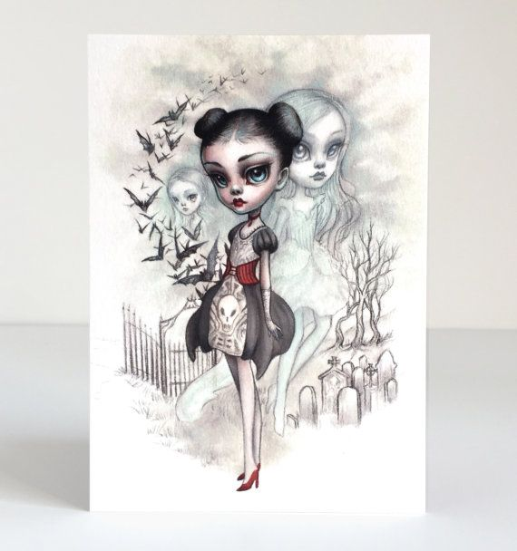A Girl and Her Ghosts 4 x 5.75 Mini Art Print by Mab by mabgraves