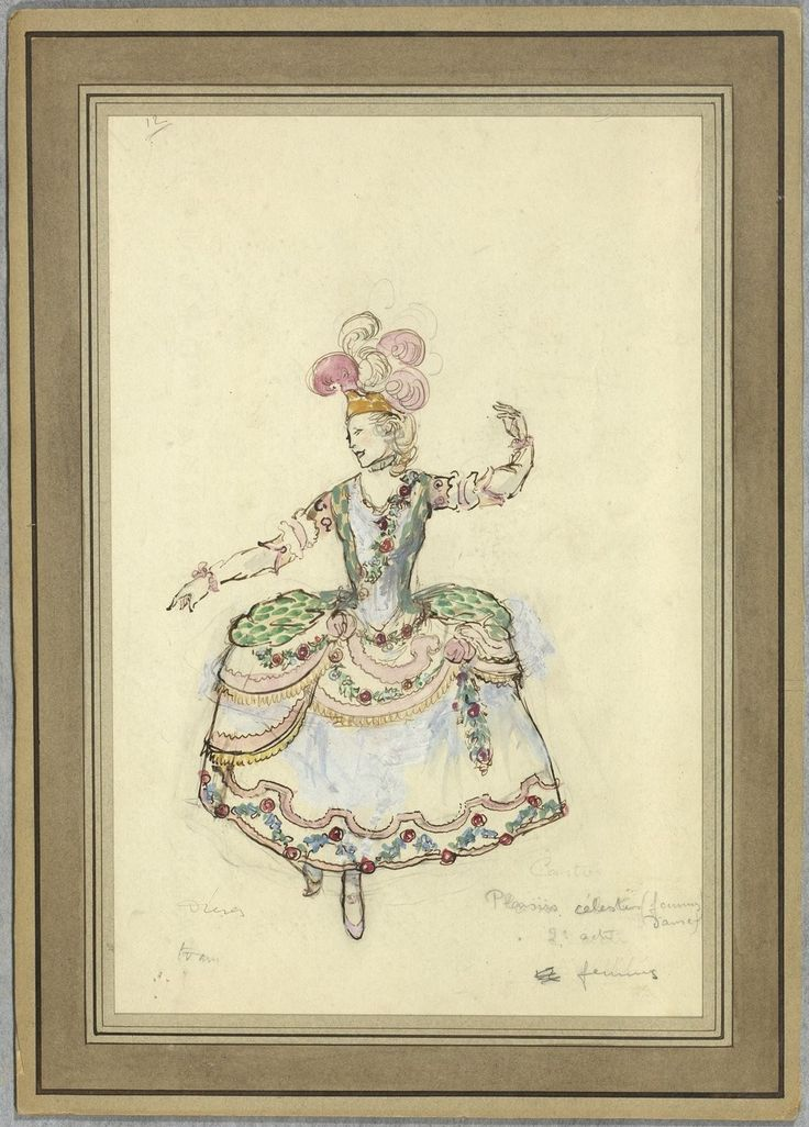 """Costume design (1918), by Jacques Drésa (1869-1929), for the celestial pleasures, in Act 2 of """"Castor et Pollux"""" (1737), by Jean-Philippe Rameau (1683-1764)."""