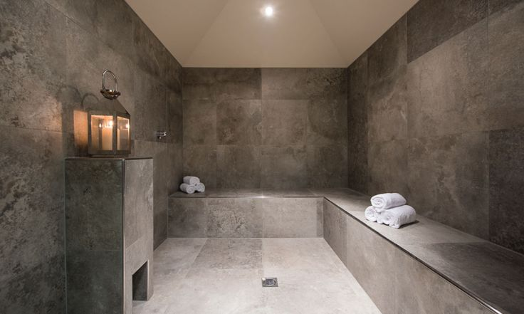 In chalet steam room for post skiing aches #steamroom #spa #luxurychalet #stanton