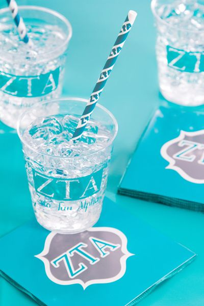 My Paper Shop.com - Zeta Tau Alpha sorority party supplies are a stylish and cost-effective choice for hosting social gatherings and fundraisers. This Greek theme collection showcases the Zeta Tau Alpha Greek letters and printed name on paper beverage napkins, plastic glasses and paper party straws. You can coordinate this ensemble with our solid colored silver gray and turquoise tableware supplies and decorations to complete your event setting. Our sorority party ensembles will add a ...