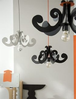 Craft Tutorials - Cardboard Chandelier Lamp - Instructions in Dutch, but with step by step photos and pdf cut out pattern.