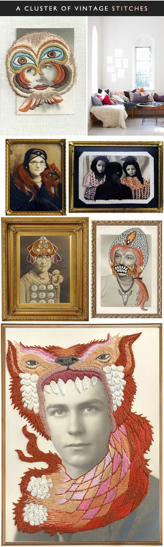 """the work of american artist stacey page. found photographs, with just the perfect amount of bizarrely beautiful embroidery. now all you need is a bunch of vintage gold frames, and you'll be all set to hang this stunning little cluster!"" via THE JEALOUS CURATOR: ART GOES HERE via sfgirlbybay"