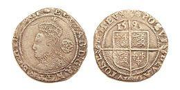 Elizabeth I van Engeland - Afbeelding van Elizabeth I op zilver sixpence, geslagen Tower van Londen 1593. Wikipedia