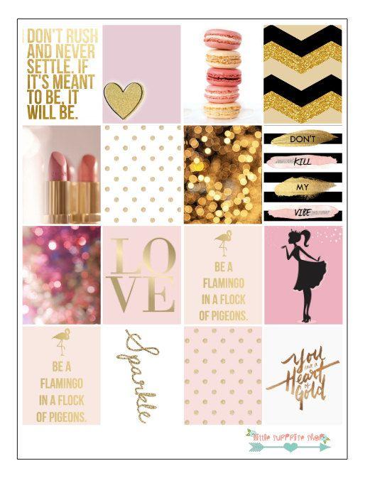 Pink and Gold Stidkers For Erin Condren by LittleSurpriseShop