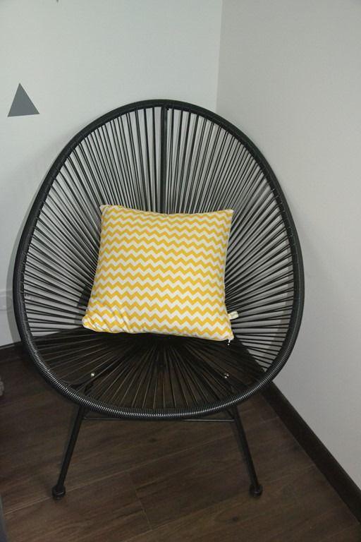 Housse de coussin tissu chevrons jaunes et verso écru : Textiles et tapis par june-boutik