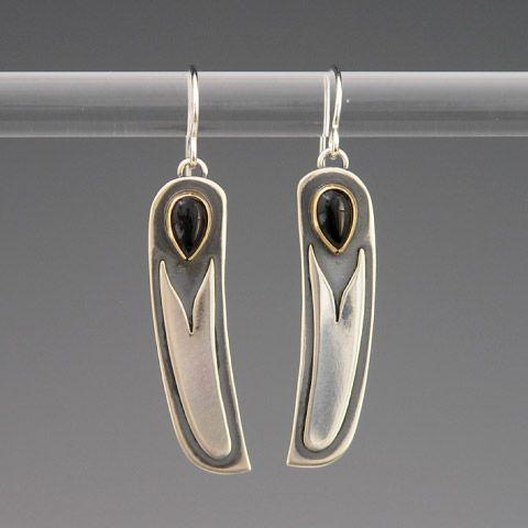 Brooke Stone Jewelry.  Heron Feather Jewelry, Custom Handmade Silver Jewelry Earrings