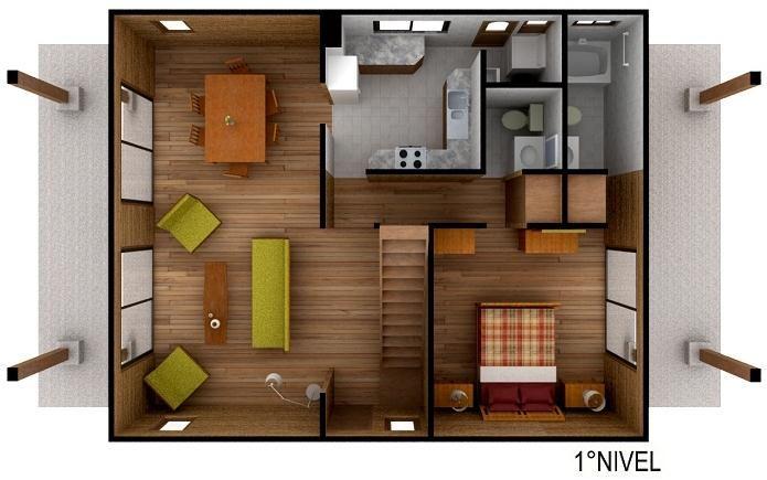 Plano de caba as de madera 3d buscar con google casita - Casitas pequenas de madera ...