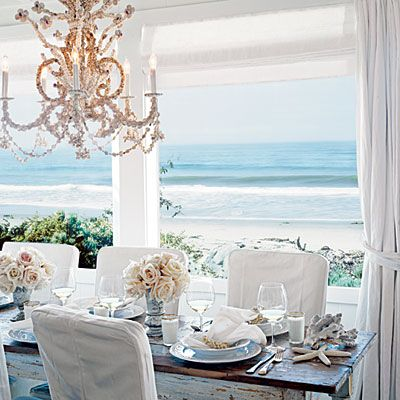 Casual elegance: Dining Rooms, Tables Sets, Beaches Home, The Ocean, The View, Coastal Living, Dinners Parties, Beaches Houses, Ocean View