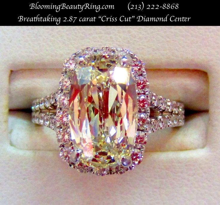 An absolutely breathtaking #engagementring with a fancy color #CrissCut diamond - BloomingBeautyRing.com (213) 222-8868