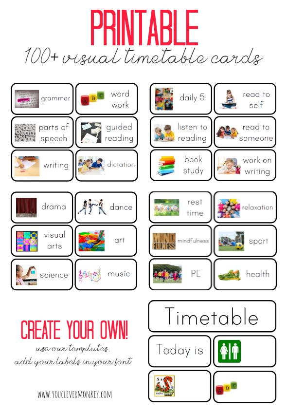 Visual Timetable Cards plus Blank Editable Cards - 100+ cards to choose from. Perfect for the Early Years, these visual timetable cards support beginning readers and writers and help establish routines and independence in young children | you clever monkey