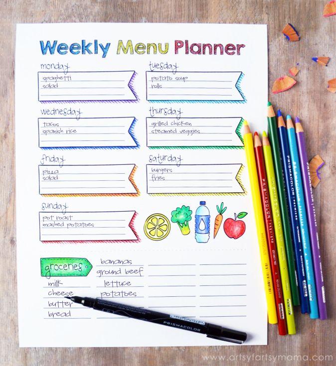 Cool Free Printable Coloring Weekly Menu Planner