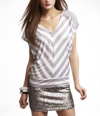 Striped Chiffon-Shoulder Wedge Tee - $29.90: Chiffon Should Wedges, Stripes Chiffon Should, Cat, Skinny Jeans, Casual Tops, Sequins Skirts, Dresses Up, Shirts, Black Legs