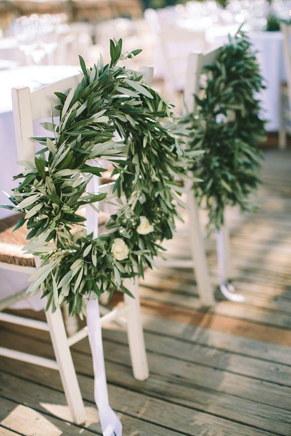 Olive branch chair decorations | Destination Wedding in Greece