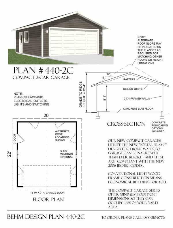 Two car garage plan 440 2c 20 39 x 22 39 by behm design for 5 car garage plans