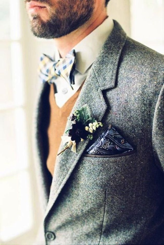Wool is a sophisticated (and warm) choice for a chilly fall or winter wedding.
