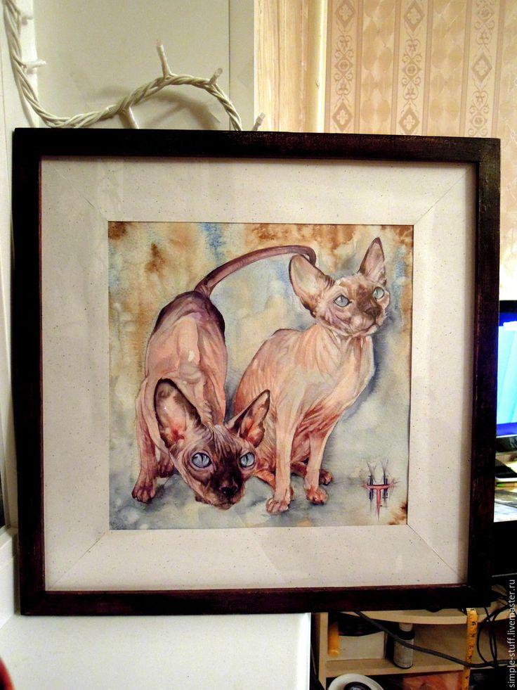 """Купить Акварель на заказ. """"Сфинксы"""" - бежевый, картина, картина акварелью, акварельный портрет, портрет на заказ"""