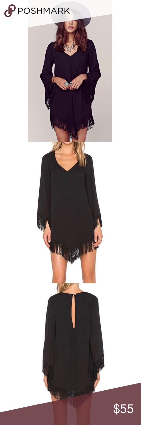 Show Me Your Mumu Rodeo Dress NWT ✨ Rodeo Dress in Black Crisp.  The cutest fringe dress. Hemline and long sleeves all have super fun fringe!  Fully lined, with V neckline and a little keyhole on back. Show Me Your MuMu Dresses Long Sleeve