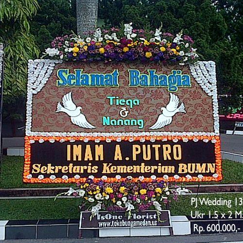Bunga Papan Wedding di Gedung Balai Prajurit Makodam 1 BB Medan.