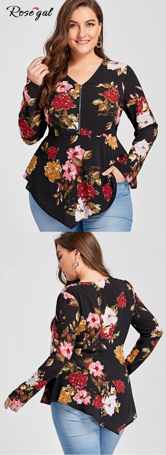 Plus size floral long sleeve blouse.How to wear in spring.Casual  V-Neck Tops for Valentine's Day.