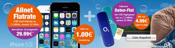 Apple iPhone 5s für 1€ mit Vertrag und 2GB LTE Internet Flat http://www.simdealz.de/o2/apple-iphone5s-mit-vertrag-2gb-lte/