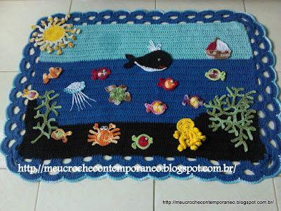 Meu Crochê Contemporâneo: Tapete Festa no Fundo do Mar
