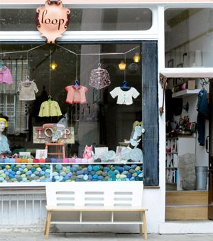 photograph of loop yarn shop in Camden Passage, Islington, London, UK-   I'm going to see Sophie Digards work firsthand!!!