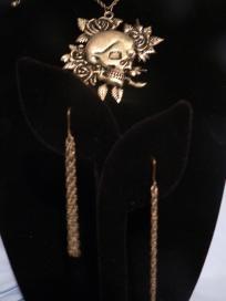 Skull & Flower Necklace & Chain Earrings Free Shipping: Skull Necklace, Earring Set, Earrings Free, Necklace Chain, Chain Earrings, For Earrings, Necklaces, Earring 17 99, Flower Necklace