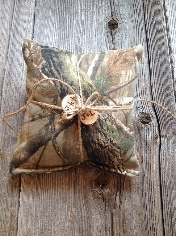 2 Camouflage Ring Bearer Pillows Camo Wedding Decor by JadieCakes