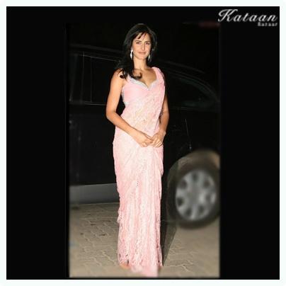 #Katrina Kaif in a Pink net saree