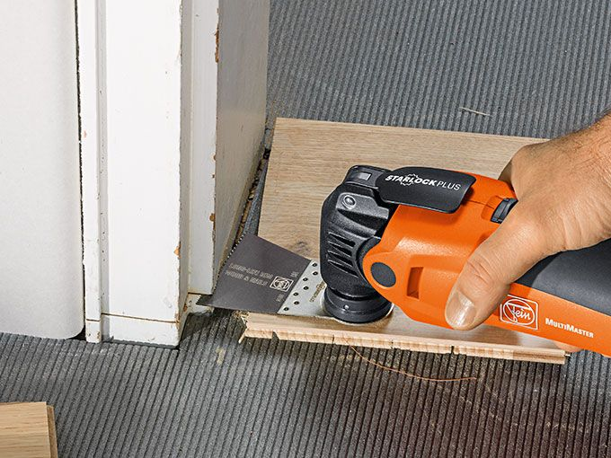 FEIN MultiMaster 350QSL with e-cut long life blade with STARLOCK. Learn more at: E-Cut Long-Life saw blade  Bimetal with teeth set for all woods, plasterboard and plastic materials. Outstanding service life, very clean cut and excellent work progress. Extremely robust, unaffected by nails in wood (up to approx. 3/16 in dia.), masonry, etc. Wide shape for maximum cutting performance and long straight cuts.  #diy #hgtv #home #forthehome #omt #fein