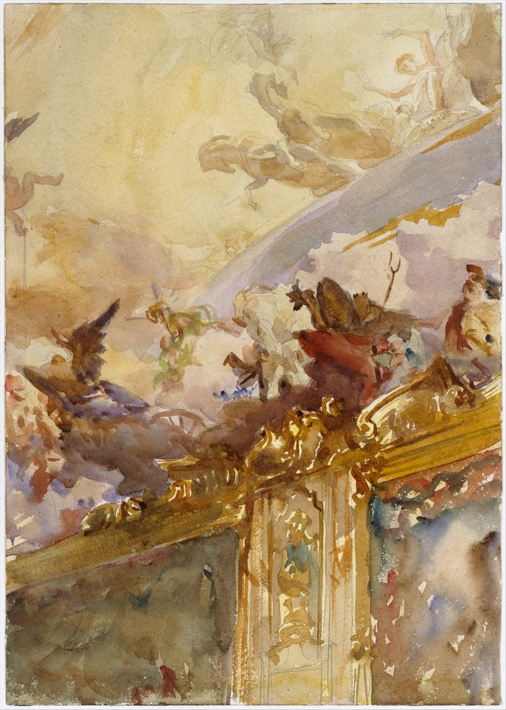 In preparing to paint murals at the Boston Public Library Sargent studied major decorative schemes. He may have visited the Palazzo Clerici in Milan particularly to see its renowned ceiling frescoes by the eighteenth-century Venetian painter Giambattista Tiepolo
