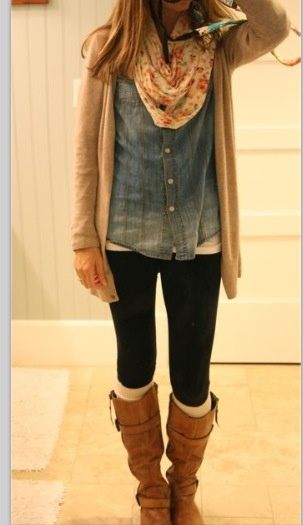 I'm not crazy about the denim shirt. I would replace it with a dark blue fitted top that hangs slightly below your booty... Otherwise, it's adorable.