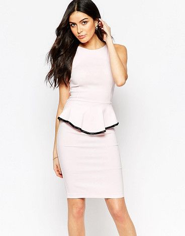 On SALE at 70% OFF! Sophie Peplum Midi Dress with Contrast Trim Detail by Vesper. Dress by Vesper, Smooth, stretch fabric, Crew neckline, Peplum waist, Concealed zip back, Close cut body-conscious fi...
