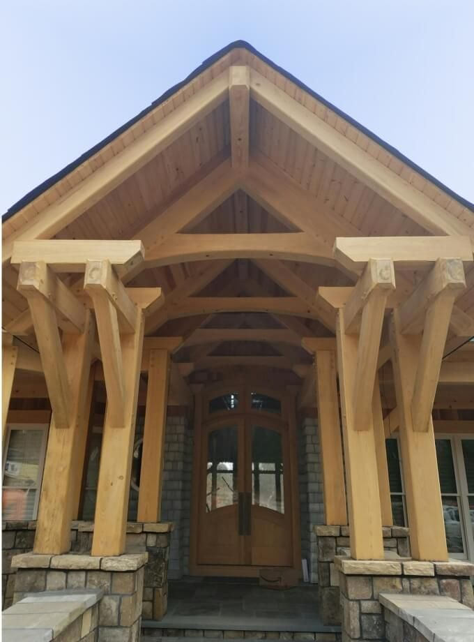 70 best porches porches porches images on pinterest for Timber frame porch addition