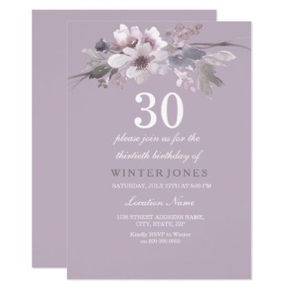#Elegant Purple Floral 30th Birthday Party Invite - #birthdayinvitation #birthday #party #invitation #cool #parties #invitations