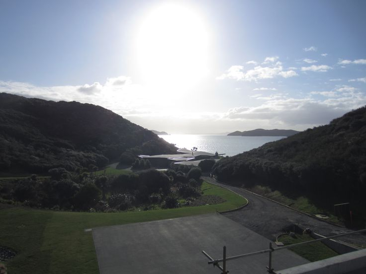 The weather was magnificent last week in the Bay of Islands, looking out to sea over the faceted roof of the Fold House.