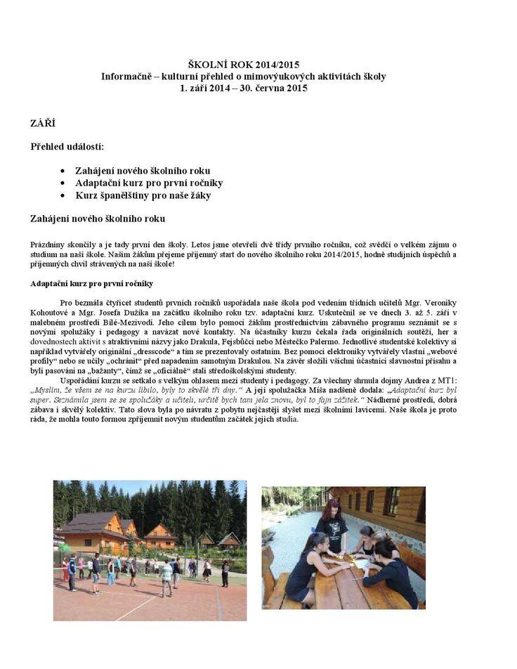 Aktivity školy 2014 2015, SŠCR Rožnov p.R.