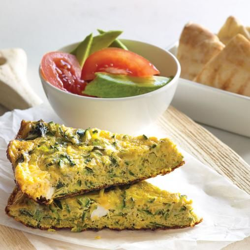 Zucchini, mint and feta omelette with pita wedges