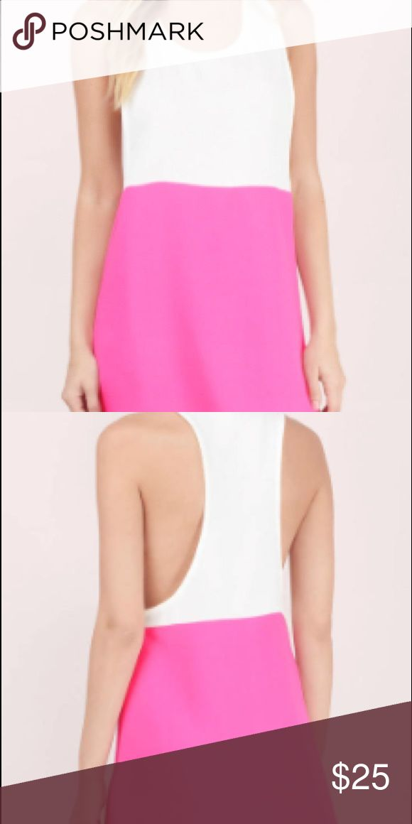 A Step Above Shift Dress Sleeveless shift tank dress with contrast color blocking, low side slits and deep razorback detailing. Wear out to your favorite day party or as a coverup for the pool. Material: polyester & spandex Dresses Mini