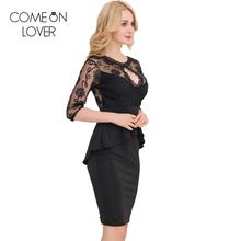 RE80206 Comeonlover Three Четверти Рукав Вышивка Черный Dress Осень Плюс Размер Баски Dress Sexy Кружева Женщины Dress Bodycon(China (Mainland))