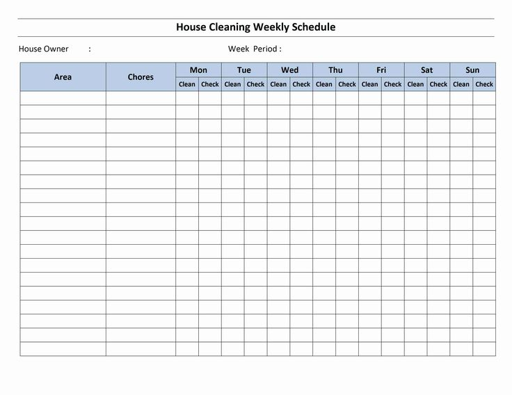 Cleaning Schedule Template | House Cleaning Schedule Template for Word