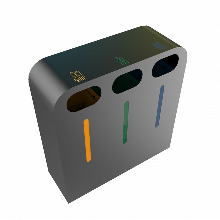 PEGAS PC - Stylish and modern design powder coated metal recycling bin station for indoor and outdoor