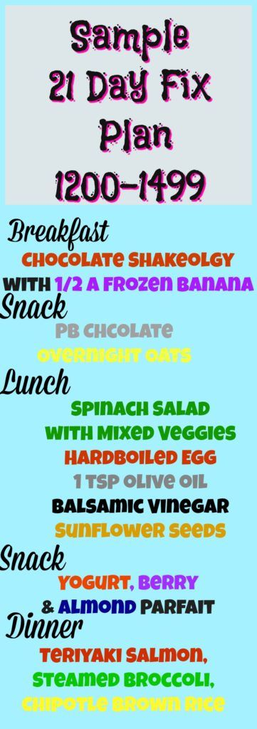 21 Day Fix Sample Meal Plan for the 1200-1499 calorie range!  Also works for 22 minute hard corps, 21 Day Fix Extreme, CIZE, Hammer and Chisel, Insanity Max 30 and more!