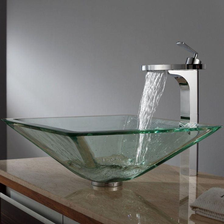 KRAUS Aquamarine Square Glass Vessel Sink In Clear GVS 901 19mm   The