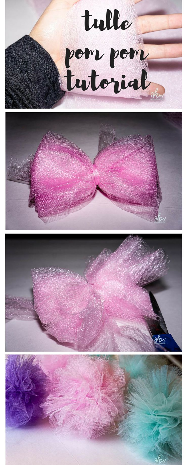 Tulle Pom Pom Centerpiece - www.akreativewhim.com - be our guest - DIY party…
