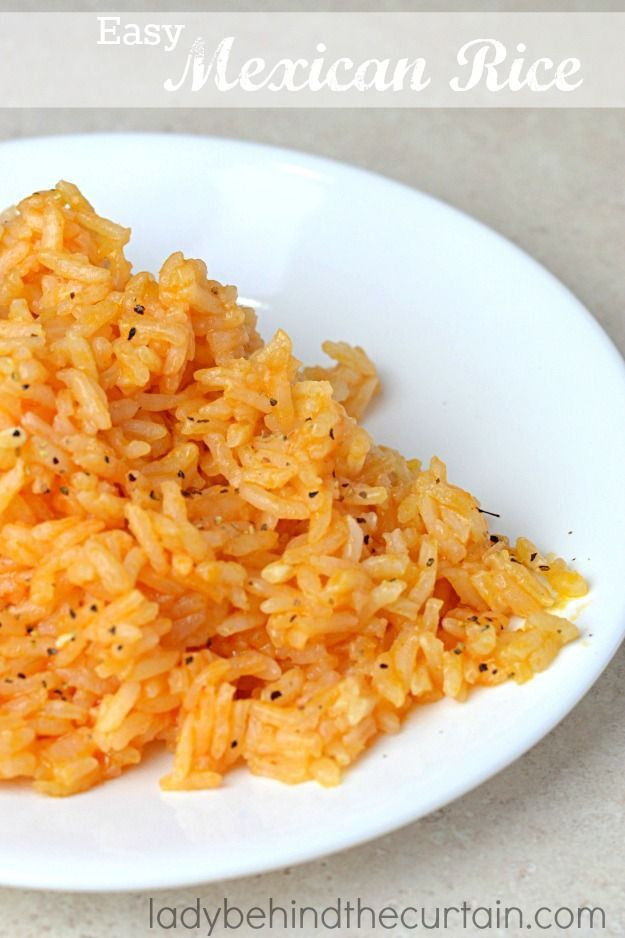 Easy Mexican Rice:Better thanrestaurant rice. Simple and tasty. I got this recipe from a neighbor in 1989. Her husband was from Mexico so she was real
