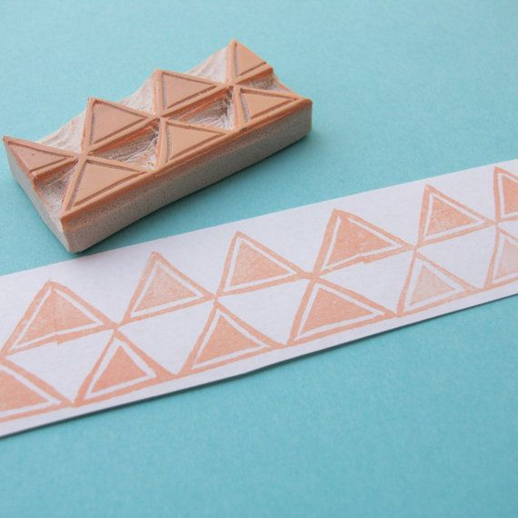tribal triangles rubber stamp