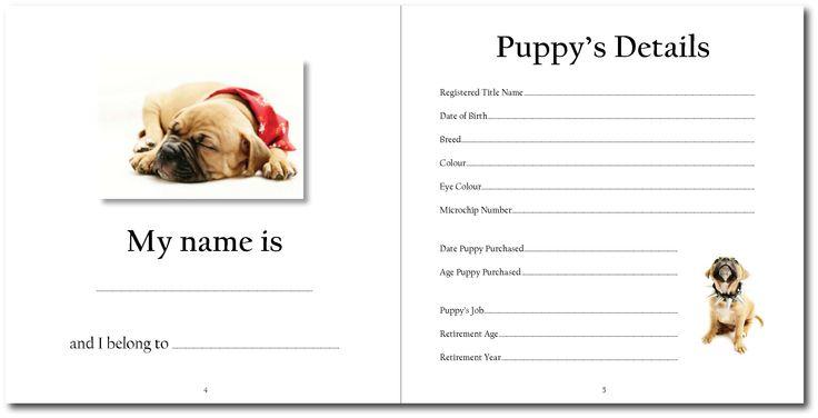 Puppy record book   http://www.petrecordbooks.com/shop/veterinary-record-book