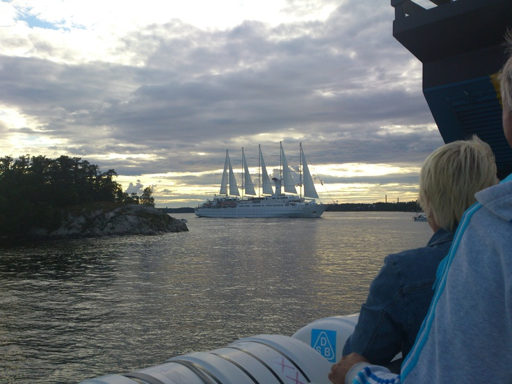 A Norwegian ship shows up - a beauty! In the Stockholm archipelago 2012.